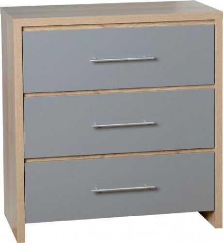 Seville 3 Drawer Chest GREY